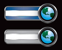 Globe on blue and silver checkered banners Stock Photos