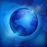 Globe on blue Royalty Free Stock Image