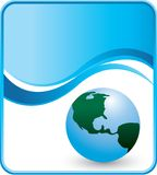 Globe on blue wave background Stock Photos