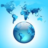 Globe on blue World map Royalty Free Stock Images