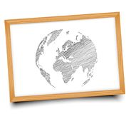 The globe on the Board. Illustration. Doodle Stock Photos