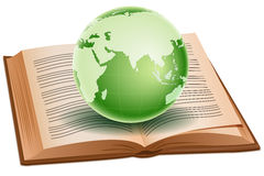 Globe on book Stock Photo