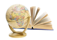 Globe and book on white background Royalty Free Stock Images