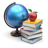 Globe books apple blank global international studying icon Royalty Free Stock Images