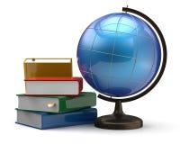 Globe and books blank global international geography symbol Royalty Free Stock Photos