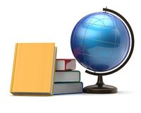 Globe and books blank international global geography icon Stock Images