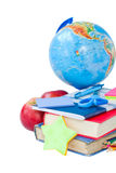 Globe and books books with school supply Royalty Free Stock Photos