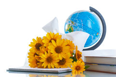 Globe with books and flowers Stock Photography