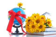 Globe with books and flowers Royalty Free Stock Photo
