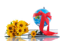 Globe with books and flowers Royalty Free Stock Image