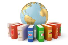 The globe and books languages learn and translate education concept books in colors of national flags 3d illustration. royalty free stock photography