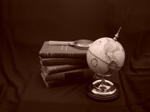 Globe with Books Sepia Stock Photo