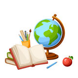 Globe and books. Vector illustration. Royalty Free Stock Image