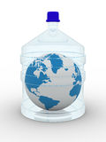 Globe in bottle on white background Royalty Free Stock Photos