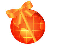 Globe with bow Stock Photography
