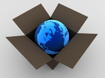 Globe in a box Stock Images