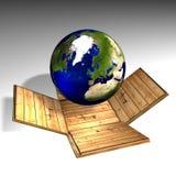 Globe and box Royalty Free Stock Image