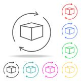 Globe and box arrow icon colored icons. Element of sewing multi colored icon for mobile concept and web apps. Thin line icon for w. Ebsite design and development Stock Image