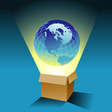 Globe and box background. An abstract illustration of a box and a large globe on a blue background.  Possible theme: Out-of-the-box thinking, global business Stock Photography