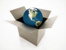 Globe in box isolated Stock Photo