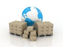 The globe and boxes for delivery Stock Image