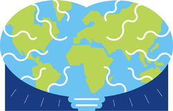 Globe brain. Brain in the shape of the earth with continents Royalty Free Stock Images
