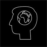 Globe in brain of human head ecology and environment  icon Royalty Free Stock Image