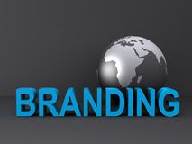 Globe and branding. Word branding with a world globe in background Stock Image