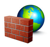 Globe and brick wall Stock Photo