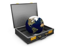 Globe in a briefcase royalty free stock photo