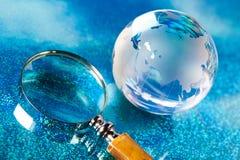 Globe on bright vivid background Stock Photo