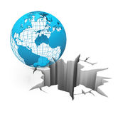 Globe on the brink. 3d generated picture of a crisis concept royalty free illustration
