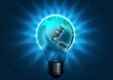 Globe bulb. Globe merge with ligh bulb to represent the energy saving Stock Photography