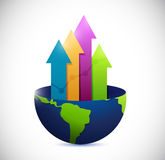 Globe and business arrow graph. illustration. Design over a white background Royalty Free Stock Images