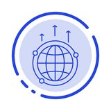 Globe, Business, Communication, Connection, Global, World Blue Dotted Line Line Icon vector illustration