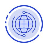 Globe, Business, Connect, Connection, Global, Internet, World Blue Dotted Line Line Icon royalty free illustration
