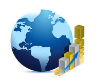 Globe and business graph illustration design. Over a white background Royalty Free Stock Images