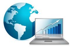 Globe and business laptop illustration design royalty free illustration