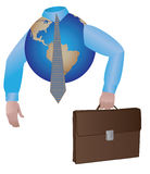 Business globe with case and tie Stock Photos