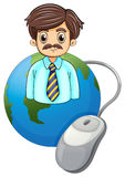 A globe with a businessman and a computer mouse Stock Images