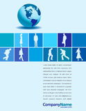 Globe and businesspeople. Blue globe and silhouettes of businesspeople on a page layout. Has background space for text royalty free illustration
