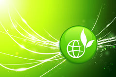 Globe Button on Green Abstract Light Background Stock Image