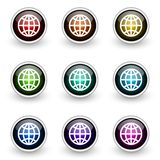 Globe button set Royalty Free Stock Images