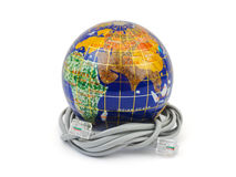 Globe and cable Stock Photo