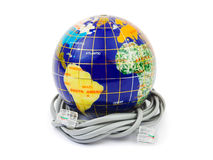 Globe and cable Royalty Free Stock Photo