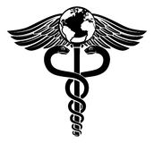 Globe Caduceus Medical Symbol. A caduceus world globe medical symbol concept of a medical or hearth care icon with an earth on the top Stock Photo