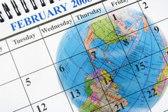 Globe and Calendar Royalty Free Stock Photo