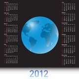 A globe Calendar for 2012. The A globe Calendar for 2012 Vector Illustration