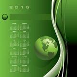 A 2016 globe calendar. For print or web Vector Illustration