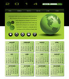 2014 globe Calendar. Web Template with 2014 Calendar in green Stock Photos